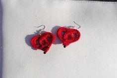 Red Crochet Heart Earrings ~ $5.00