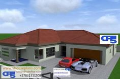 Flat Roof House Designs, Bungalow House Design, Bungalow Floor Plans, House Floor Plans, Single Storey House Plans, House Plans South Africa, 5 Bedroom House Plans, Free House Plans, Model House Plan