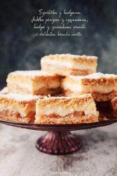Szarlotka z budyniem   Kwestia Smaku Apple Pie Bars, Polish Recipes, Custard, Baked Goods, Breakfast Recipes, Cheesecake, Pudding, Sweets, Cooking