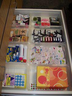 Office supplies / teacher supplies drawer #2. From Mrs. Terhune's First Grade Site!: The Ultimate Classroom Tour