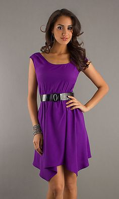 AS-I579478B3: Short Purple Dress with Belted Waist