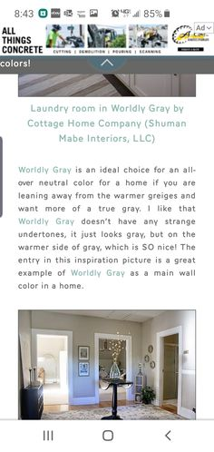 Wordly Gray, Cottage Homes, Neutral Colors, Laundry Room, Concrete, Grey, Interior, Laundry, Ash