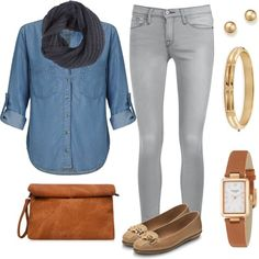 Blusa Chambray Jean Gris claro by fernndez-andrea featuring gold jewelry