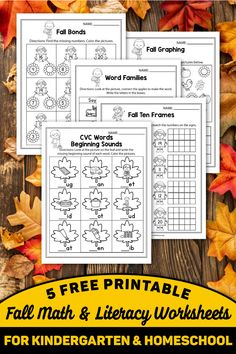 These FREE Fall worksheets for kindergarten are the perfect printable for your classroom. These can be used with kindergarten and first grade kids. I used these activity worksheets during Halloween and Thanksgiving as well. My students practice kindergarten literacy and math, CVC words, kindergarten couting, number words and more using this freebie. You can use these in November and October to practice phonics for free. Literacy Worksheets, Kindergarten Worksheets, Writing Activities, Free Teaching Resources, Teaching Ideas, Thanksgiving Worksheets, Autumn Activities For Kids, Elementary Teaching, Number Recognition