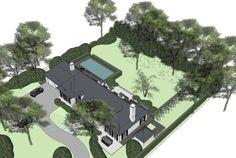 Laat je tuin ontwerpen door Tuinonderneming Monbaliu - Tuin midden in bosrijk gebied met hybride zwemvijver, ruimte oprit, terrassen en voldoende ruimte voor de spelende kinderen
