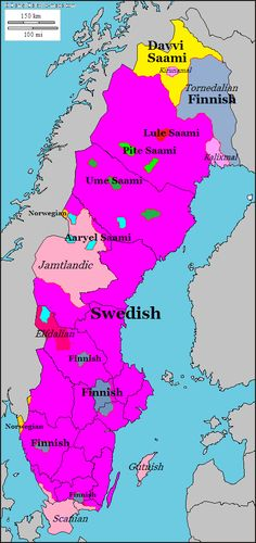 Linguistic map of Sweden