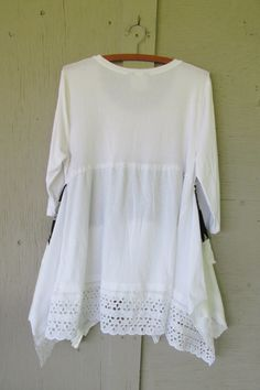 upcycled ladies Lagenlook tunic shabby chic by lillienoradrygoods