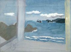 St Ives Bay: sea with boats . 1931 . Oil and pencil on canvas . 40.9 x 56cm . Ben Nicholson