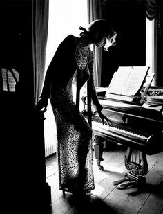 Sheer Dress, Black & White, Piano