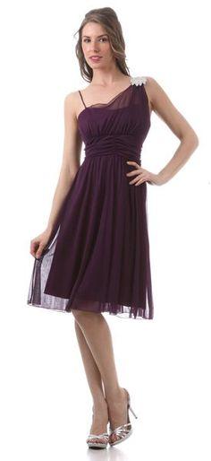 Plum Bridesmaid Dress One Shoulder Chiffon Matt Jersey Bolero Jacket $87.99