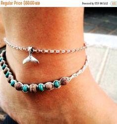 ON SALE Whale Tail Bracelet Silver Bracelet Surfer Gift