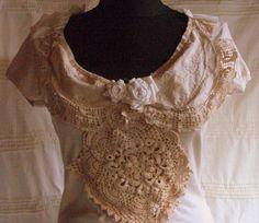upcycled clothing upcycled shirt blouse shabby chic by radusport, $35.00