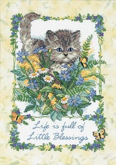 LITTLE BLESSINGS ~ Dimensions stamped cross stitch kit CAT RARE
