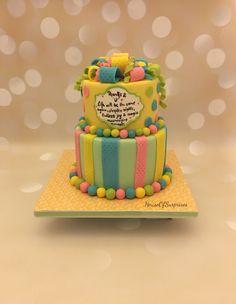 Mini tier neutral baby shower cake