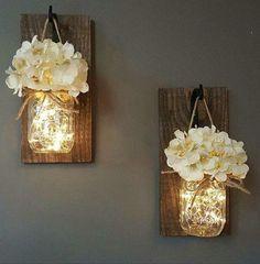 Mason Jar wall lights! Fairy lights inside