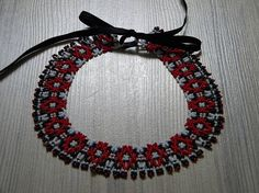 Red-white-black folk vintage style handmade seed beaded
