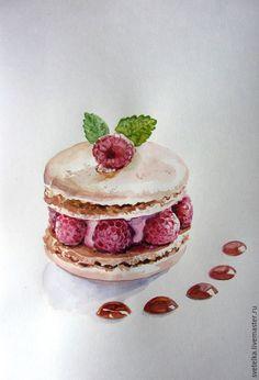 Купить Пироженка - разноцветный, акварель, акварельная картина, акварельная живопись, тортик, пирожное, картина акварелью