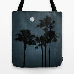 Coastal Moon Tote Bag by RichCaspian - $22.00 #tote #bag #carry #blue #moon #palmtrees #bookbag #society6 #beach #fullmoon