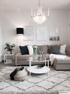 Beautiful small living room in neutral colors. Grey, beige and white.