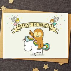 Funny Good Luck Card - Believe In Yourself - Unicorn Card - Cute Cards - Friendship Card - Encouragement Card - Bigfoot - Funny Friend Card