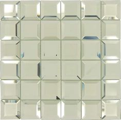 """Spanish Pearl Silver 2"""" x 2"""" Glossy & Frosted Glass Mirror Tile Mirror Ceiling, Mirror Tiles, Wall Tiles, Unique Tile, Tile Installation, Sheet Sizes, Silver Pearls, Frosted Glass, Mosaic Glass"""