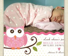 Owl Birth Announcement - Baby Announcement - Look Whooos Arrived - Custom Made…
