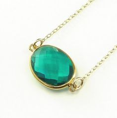 Green Apatite Quartz  Necklace 14K Gold Filled by ZionShore,