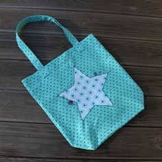 4 Freizeiten: Nähen: Stoffbeutel Oma's Liebling - in türkis mit ganz vielen Sternchen, Farbenmix, Beutel, Einkaufsbeutel Fabric Bags, Reusable Tote Bags, Crafty, Sewing, Fabric Purses, Bags, Shopping, Knitting And Crocheting, Stars