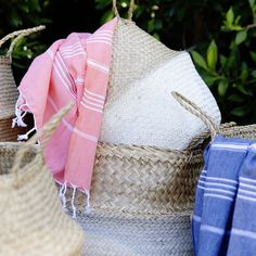 Our Belly Baskets and Turkish Towels make a lovely pair! Find a great selection of colours and sizes online now at www.whiteandco.com.au Belly Basket, Market Baskets, Turkish Towels, Reusable Tote Bags, Colours, Pairs, How To Make, Inspiration, Accessories