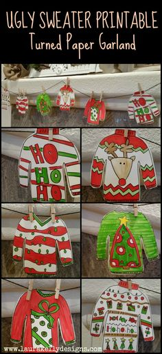 Ugly Sweater Garland with Free Printable | Laura Kelly's Inklings                                                                                                                                                                                 More