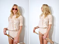 NYFW / Lauren Moffatt Spring 2013 - love how the top buttons up on the side and of course, the polka dots :)