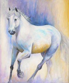 Oeuvre originale peinte à la main par Isabelle Bérard  / art équestre / cheval blanc / décor mural / peinture acrylique / art contemporain by ArtStudioIsabelle on Etsy