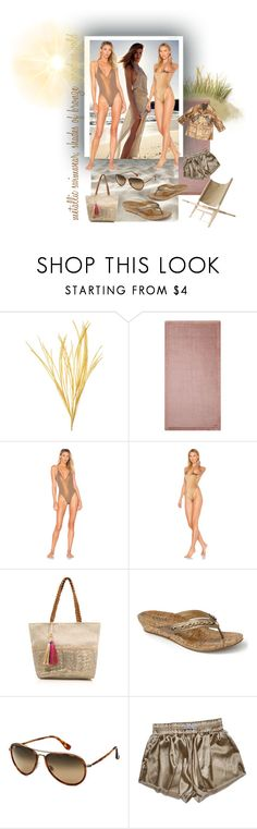 """""""lighter shades of bronze. nude & metallic trend"""" by caroline-buster-brown ❤ liked on Polyvore featuring Alessandro Di Marco, Blue Life, dbrie, George, Vionic, Maui Jim, Viktor & Rolf and metallicswimwear"""