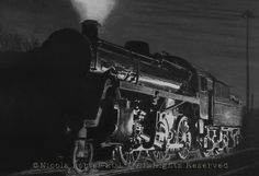 """""""76084 by night"""" drawing - A4 print £20 - BR standard 4MT Steam Locomotive designed by Robert Riddles and built in 1957.  Please note that you are buying a Limited Edition print of my drawing, not the original  Prints will be signed, numbered and professionally mounted."""