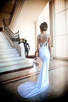 Liana Haute Couture - white long robe - wedding dress with nice back