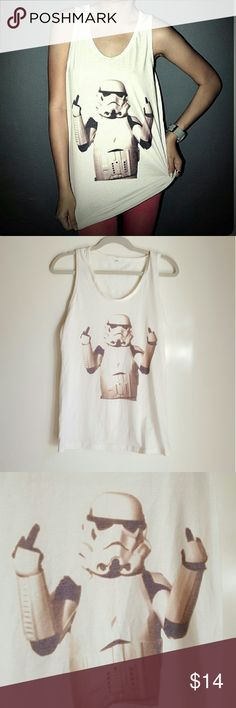 Star Wars Stormtrooper flip finger funny tank Star wars stormtrooper  flip finger tank size S. Love this! And whoever snatch this would too!  #star #wars #unif #inspo #fox #apparel #funny #graphic #tee Vintage Tops Tank Tops