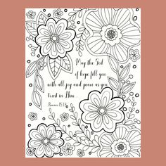 Bible Verse Coloring Page, Scripture Coloring, Christian Coloring Page, Flower Coloring Page, Romans 15:13 Coloring Page by FourthAvePenandInk on Etsy