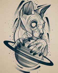 Tattoo Sketches, Tattoo Drawings, Art Sketches, Art Drawings, Tattoos, Animal Sketches, Animal Drawings, Saturn Tattoo, Gothic Tattoo