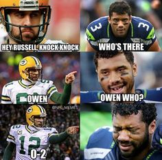 Our Favorite Packers-Seahawks Memes -- The Seattle Seahawks own the Green Bay Packers no more! Here are our favorite post-game Packers-Seahawks memes. Congratulations on being Seattle. Nfl Jokes, Funny Football Memes, Basketball Memes, Funny Sports Memes, Sports Humor, Cowboys Memes, American Football Memes, Soccer Humor, Hockey Memes
