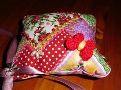 embroidered pincushion crazy quilt ornament by FourDirectionsLight