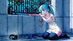 Wallpaper Anime, Girl, Hair, Headphones, Sadness, Fence HD