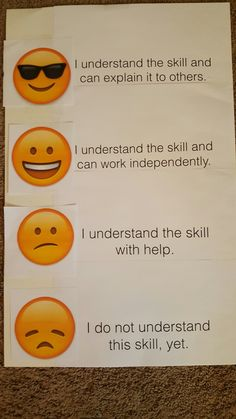 Emoji Marzano scale for student self evaluation.