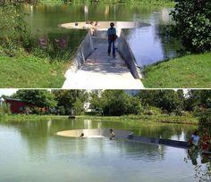 Un banco en mitad de un #estanque con unas vistas geniales