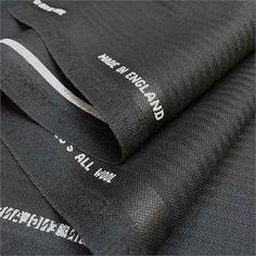 100% Wool, Super 130's finest black herringbone stripe suiting, UK made. 2x2 twill, 260/280gms.