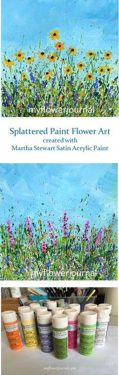 Splattered Paint Flower Art created with Martha Stewart Satin Acrylic Paint-myflowerjournal