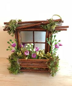 Mini Fairy Window 3 inch by 3 inch size, add Fairy Shoes see below option~ Handcrafted by Olive ~ always one of a kind Diy Fairy Door, Fairy Garden Doors, Fairy Garden Furniture, Fairy Garden Houses, Fairy Gardening, Container Gardening, Miniature Fairy Figurines, Miniature Fairy Gardens, Fairy Shoes
