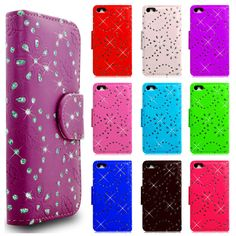 Diamond Book Wallet Flip Phone Case Cover For All Samsung Galaxy & Apple Models