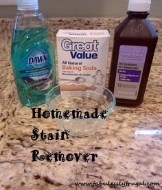 This is absolutely amazing. I had a stain on one of my favorite sweatshirts that just wouldn't come out I tried this then washed it and now the stain is gone! If you have kids or a messy husband try this!!  One part Dawn dishwashing liquid soap (generic dish soap works too)  two parts hydrogen peroxide  add some baking soda for extra scrubbing power (1-2 Tbsp)