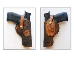 Custom leather gun holster for a Smith & Wesson M&P auto pistol.