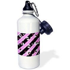 3dRose Cute Pink Skull and Hearts Print, Sports Water Bottle, 21oz
